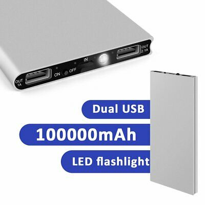 Portable Slim 100000mAh 2USB LCD Power Bank External Battery Charger All Phone