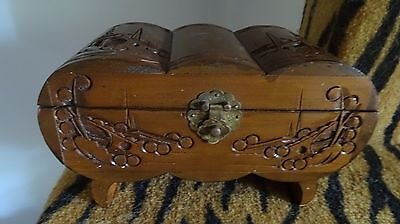 Vintage Chinese wood carved jewelry box