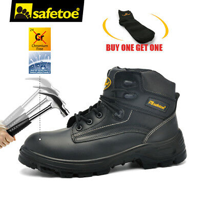 Safetoe Safety Work Boots Shoes Mens Steel Toe Cap Black Leather Breathable US