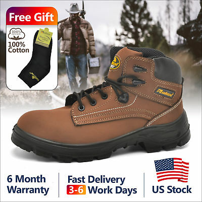 Safetoe Safety Boots Shoes Mens Steel Toe Brown Leather Water Resistant US Size