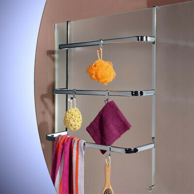 Bathroom Shower Screen Towel Rack Over Door Hanging Chrome Bar Rail Bath Caddy