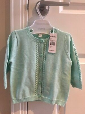 Purebaby Sz 0 6-12 Months Round Neck Cable Girls Cardigan Top New Tags $59.95
