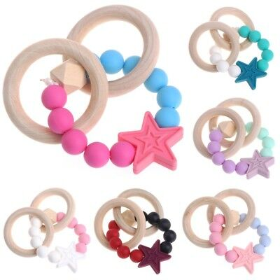 Teething Natural Round Silicone Bracelet Baby Newborn Kid Wooden Teether Toy New
