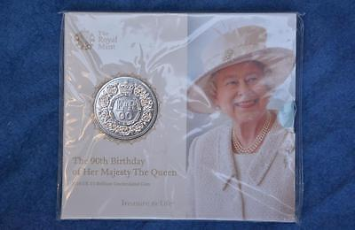 RARE 90th Birthday of Her Majesty The QUEEN. Commemorative COIN + BOOKLET