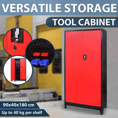 vidaXL Tool Cabinet w/ 2 Doors Steel 90x40x180cm Black and Red Storage Locker