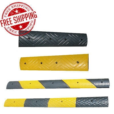 Rubber Speed Bump Hump Slow Safety Outdoor Home Garage Yellow Black