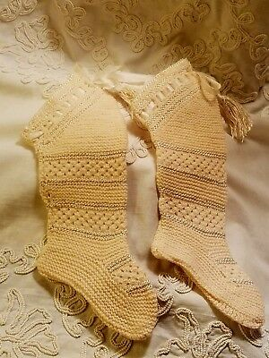 Antique 1890's -BABY STOCKINGS/SOCKS- Wool & Silk- Hand Crochet-Silk Tassels