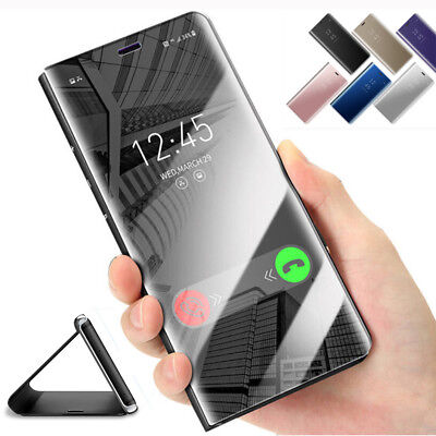 Clear View Mirror Case for Samsung Galaxy S7 S8 A8 Plus Flip Leather Stand Cover