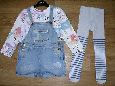 NEXT Girls Denim Dungaree Shorts Stripe Tights Top Set Outfit Age 2-3 98cm