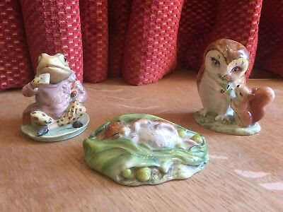 Beatrix Potter Beswick TWO Gold stamp Figures plus ONE Royal Albert