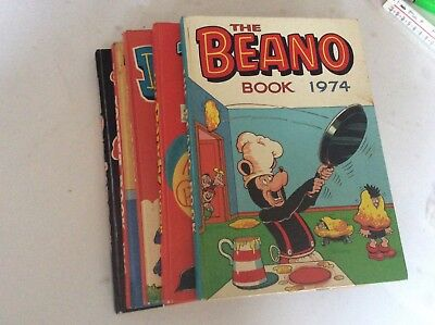 5 Great 70s Annuals BEANO DANDY TOPPER  - Great condition