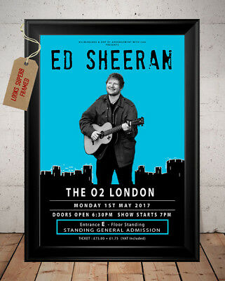 Ed Sheeran Divide Tour London O2 2017 Autographed Signed Retro Print Poster