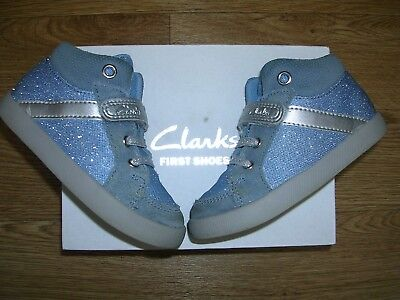 CLARKS Girls Blue Glitter High Top Boots First Shoes UK 6.5 F Eur 23 6.5F