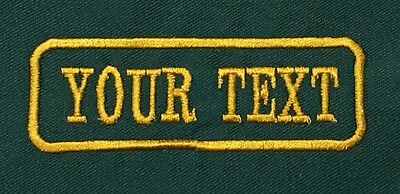 1 Line Green Twill Cloth Personalised Name Patch Badge Biker Scooter Iron Sew On