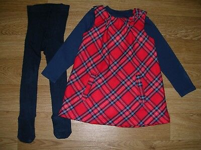 H&M Girls Navy Blue Red Tartan Dress Outfit with Tights Age 18-24m