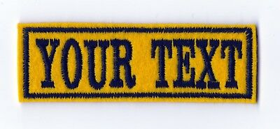 1 Line Yellow Felt Personalised Name Patch Badge Biker Scooter Iron Sew On