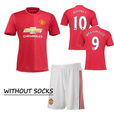 2016 Kids Football Soccer Red Kits For 6-7 Years Shirts Shorts without socks