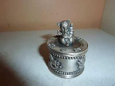 Pewter  4.1Cm Diameter Bear/bottle Christening/tooth Fairy/ Keepsake Trinket Box