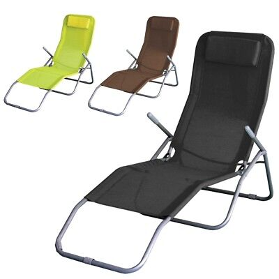 Folding Sun Outdoor Lounger Reclining Garden Patio Beach Chair Bed Furniture