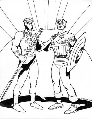 Steve Rude - Captain America & Captain Britain Original Art