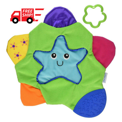 Multi-colored Baby Chew Teething Blanket Toy Different Textures Crinkle Sounds