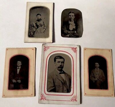 LOT OF 5 1800s TINTYPE GENTLEMEN & LADY PHOTOGRAPHS WITH LIGHT FACIAL COLORATION