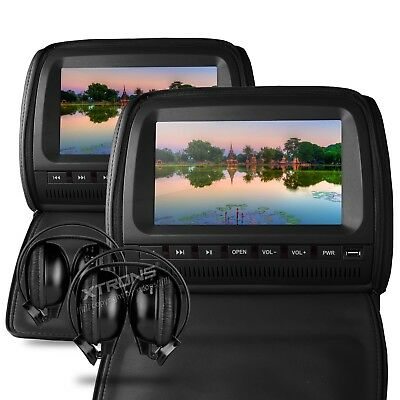 "2 x 9"" In Car Headrest DVD Players with 2 Headphones - HD905SSDB / Black"