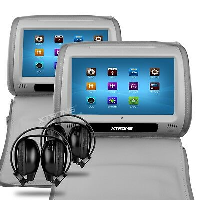 "2 x 9"" In Car Touch Screen Headrest DVD Players 2 headphones - HD908TTDG / Grey"