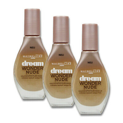 3x20ml Maybelline Dream Wonder Nude Fluid Make-up 10 Ivory