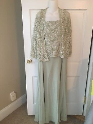 Mother of the Bride MOB Groom Special Occasion 16w David's Bridal Long Green 16