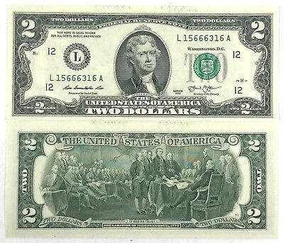Uncirculated $2 Two Dollar bills note BEP Lucky USD Fancy With clear case Crisp