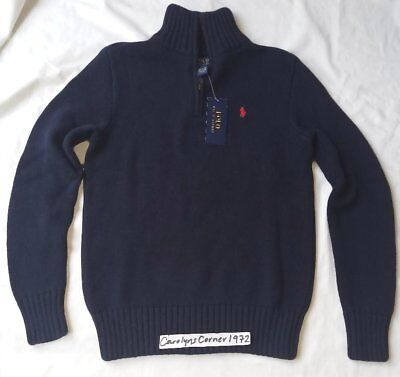 Nwt Auth Polo Ralph Lauren Boys Mock Turtleneck Knit Sweater Navy Blue M 10-12