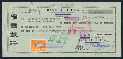 Australia: Singapore 1963 BANK OF CHINA £A150 Draft with stamps