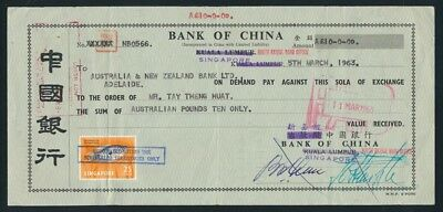 Australia: Singapore 1963 BANK OF CHINA £A10 Draft with stamp
