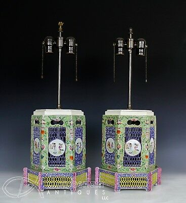 Large Pair Of Old Chinese Openwork Lanterns Made Into Lamps