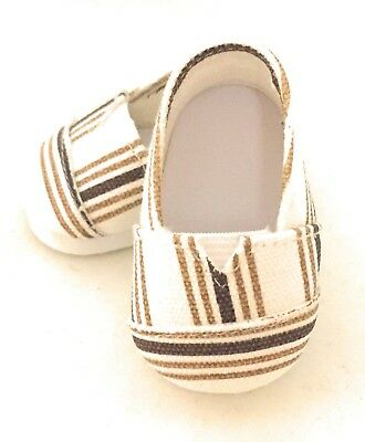 "Brown Striped Canvas Slip On Shoes made for 18"" American Girl Doll Clothes"