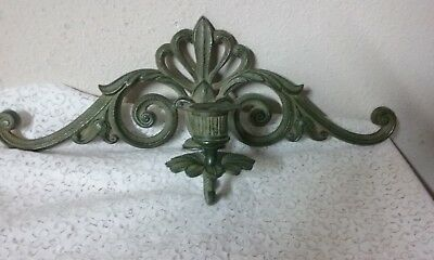 "Vintage Art Deco 16"" Bronze or Brass Single Candle Wall Sconce Green"