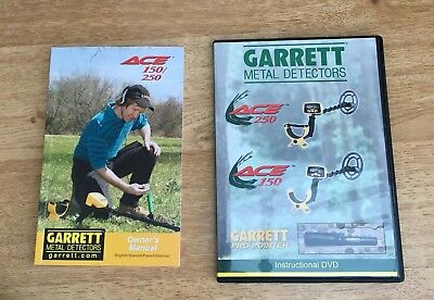 Garrett Ace 150/250 owners manual and dvd for 150/250/propointer metal detecting