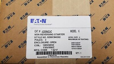 Cutler Hammer A200M4Cac 	A200 - Starter, Size 4, Open, 3 Pole, 120V / 60Hz Coil