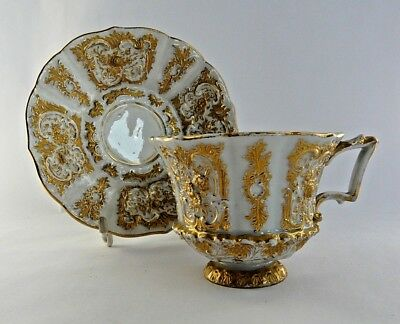 Antique 19th century Meissen cup & saucer model 44- white & gilt relief- Lovely
