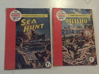 FIRST ISSUE rare COMBAT  Picture Library #1 & #12  VG CONDITION