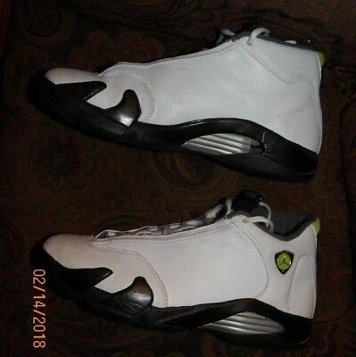 separation shoes 300c2 13a54 Nike Air Jordan XIV 14 Retro White Chartreuse-Black 311832-132 SZ 11