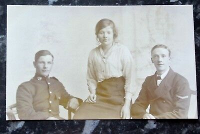 WWI era group photo postcard possibly family, army and navy?