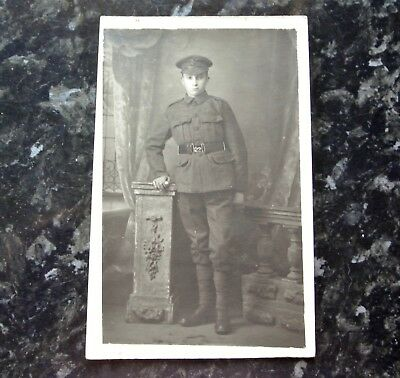 WWI portrait postcard of named soldier, Kings Royal Rifles Corps, kia 1918