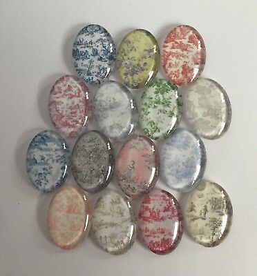 15 Toile de Jouy Glass Cabochons Oval 25mm x 18mm Crafts Jewellery Card Making