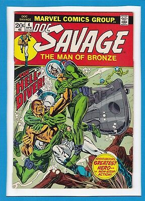 """Doc Savage Man Of Bronze #4_April 1973_Fine+_""""the Hell-Diver""""_Bronze Age Marvel!"""