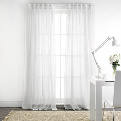 NEW freedom White Elisa 140X230Cm Sheer Concealed Tab Curtain, White