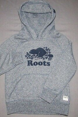 Boy's Roots Canada Navy Blue Beaver Logo Pull Over Hoodie Sweatshirt Youth 5T