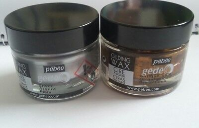 Bundle large Pots Assorted Pebeo Gilding Wax *NEW* 2 pots silver Gold