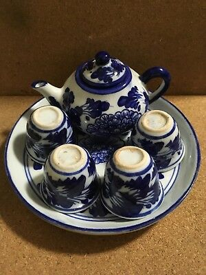 Miniature Asian Tea Set - Complete - Teapot, Cups and Serving Plate